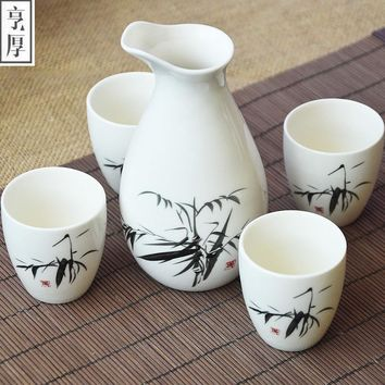 5pcs Japanese Porcelain Spirits Cups Set Wine Cup Sake Pot Cups Set Kitchen Dining Bar Drinkware Hip Flasks Porcelain Tea Cup
