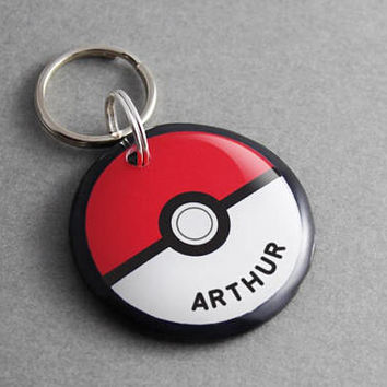 Pet ID Tag Pokeball - Pokemon, Cartoon, Dog ID Tag, Cat Tag, Video Game, Anime, Gaming, Geek, Nerd, Personalized, Gamer