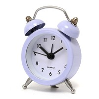 New Fashion Home Decor Metal Double Twin Bell Silent No ticking Metal Desk Table Alarm Clock 6 Colors 50x45x115mm