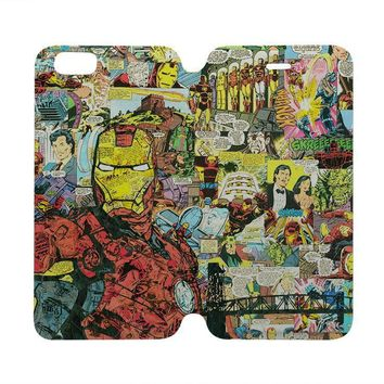 iron man collage wallet case for iphone 4 4s 5 5s se 5c 6 6s plus samsung galaxy s4 s5 s6 edge note 3 4 5  number 1