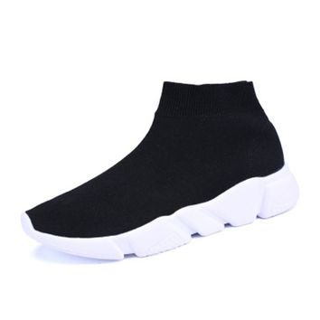 Women Boots Stretch Fabric Sock Boots High Top Knitted Sock Boot Wedges Shoes Woman Woolen Booties Sock Shoes 2018