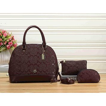 Coach Women Leather Handbag Tote Shoulder Bag Clutch Bag Cosmetic Bag Set Three-Piece