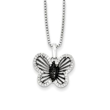Black & White Diamond 17mm Butterfly Necklace in Sterling Silver