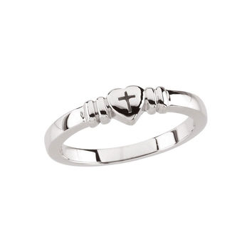 Sterling Silver Polished Heart W/ Cross Ladies' Chastity  Ring: Size: 4