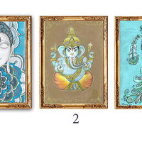Ganesha Buddha Peacock Painting, Set of 3 Piece Wall art decor, Ganesha Buddha Peacock Print poster Wall art Spiritual Hindu Boho wall decor