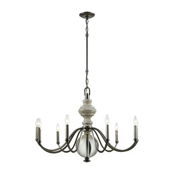 32314/9 Neo Classica 9 Light Chandelier In Aged Black Nickel With Weathered Birch Finished Wood And Clear Crystal Ball