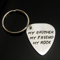 Personalized Guitar Pick KEYCHAIN Gift for Dad Grandpa Uncle Likes To Rock Gift for Man Aluminum Custom Hand Stamped