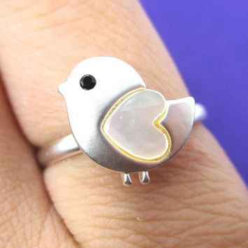 Baby Chicken Bird Animal Adjustable Ring in Silver with Heart Shaped Wings