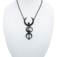 Restyle Gypsy Gothic Dark Magic Witchcraft Black Luna Full Moon Pendant Necklace