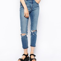 ASOS Farleigh High Waist Slim Mom Jeans In Mid Wash Blue With Busted K