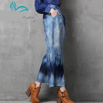 Vintage New Denim Jeans Tie Dye Washed Loose Women Jeans Wide Leg Pants Women Zipper Fly