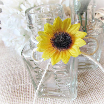 Clear Glass Apothecary Bottle Decor, Sunflower Wedding Centerpiece, Rustic Vintage Country Wedding Decor, Table Centerpiece Decoration