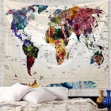 Vintage Map Of The World Wide Sea Decorative Painting Tapestry Wall Hanging Tapestries Beach Towel Yoga Mat Blanket Table Cloth