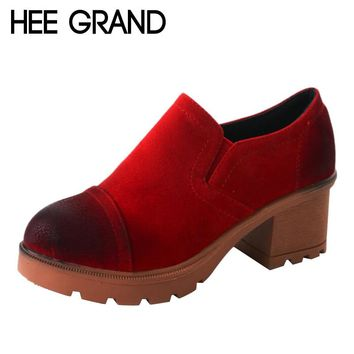 HEE GRAND Oxford Women Autumn and Winter Round Toe Shoes with Faux Suede Women Fashion shoes  XWX6084