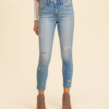Girls High-Rise Crop Super Skinny Jeans | Girls Bottoms | HollisterCo.com