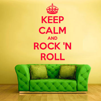 Wall Vinyl Sticker Decals Decor Art Words Sign Quote Keep Calm Rock' N Roll (z1200)