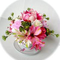 Floral Arrangement in Breast Cancer Teacup  - Breast Cancer Awareness, silk Pink Peonies and Roses