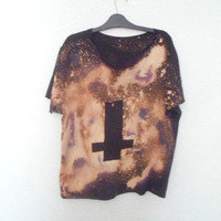 Hipster Inverted Cross Galaxy Space Nebula TShirt by Clotique
