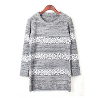 Light Gray Snowflake Stripe Long Sleeve Sweater