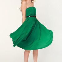 Bows of Holly Strapless Green Dress