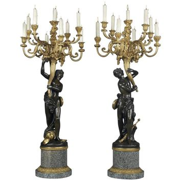 'Les Grands Faunes' Cast Pair of Bronze Candelabra, French, circa 1880