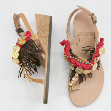 HALF PRICE !Bohemian wedge sandals! 39 US 8-8.5 Boho sandals! Boho wedges