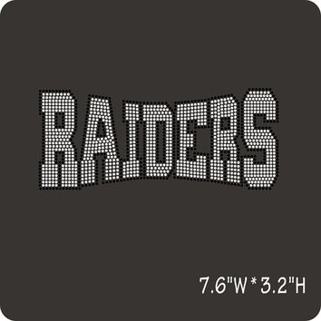 Raiders Rhinestone Hotfix Iron on Transfers - DIY Raider Transfer for Team mascot motif