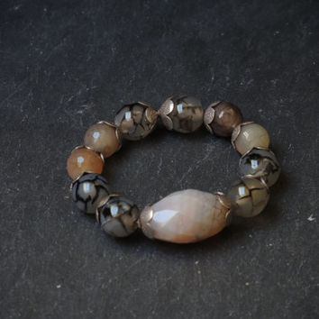 Gray quartz bracelet, handmade gemstone beaded  bracelet of quartz and silver, beaded on elastic band