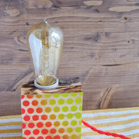 Wood lamp with red and green polka dots