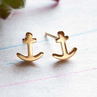 Tiny Gold Anchors Earrings