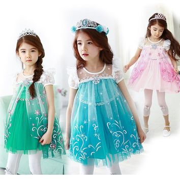Multicolor Summer Elsa Dress For Girls Fashion Princess Cartoon Vintage Children Kids Anna Cosplay Costume Party Dresses Cloth