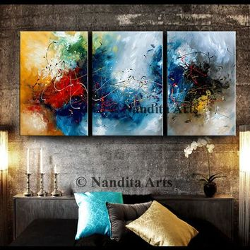 Acrylic Modern Abstract Painting Framed Canvas Art Contemporary Art Teal Blue Turquoise Fine Art Home Decor Wall Hanging Artwork by Nandita