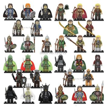 32pcs/lot Movie Figure Set Haldir Tauriel Legolas King Mouth of Sauron Theoden Wraith Rider Building Blocks Model Bricks Toy