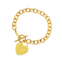 Toggle Bracelet with Heart Charm in 14K Yellow Gold - Style 1