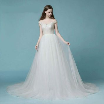 Tulle Wedding Dresses Cap Sleeves Crystal Beads Wedding Gowns Princess Bride