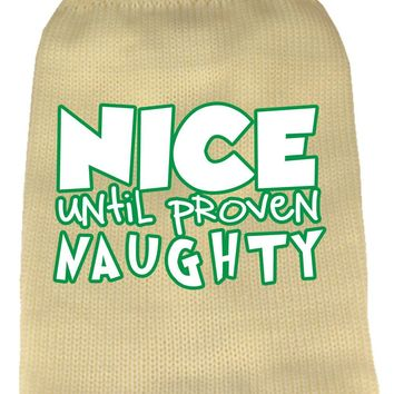 Nice Until Proven Naughty Screen Print Knit Pet Sweater Cream Xl (16)
