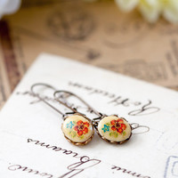 Floral Earrings, Vintage Style Red and Green Flower Earrings, Bridesmaid Jewelry, Gift for Her under 15 dollars