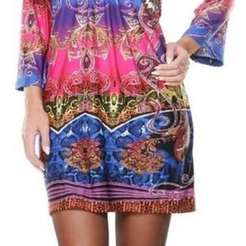 Madelyn Print Dress in Rainbow Short Shift V Neck 3/4 Sleeves