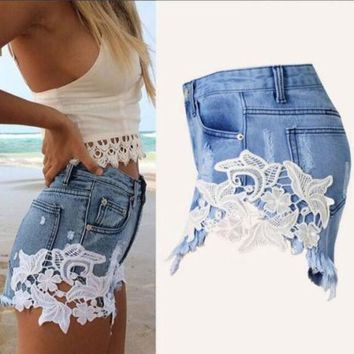 DCK9M2 Fashion Lace Patchwork Women Denim Shorts 2016 Side Lace Crochet Sexy Skinny Plus Size S-XXL Women Jeans Summer Hot Shorts B6506