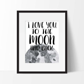 I Love You To The Moon And Back Art Print - Children's Wall Art - Minimalist Art - Office Decor