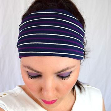 Wide Fitness Headband | Navy Purple Stripe Cotton Lycra | Radiance Collection