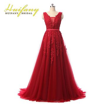 Robe De Soiree Red/Coral/Royal Blue/Pink Lace Appliqued Beaded Sexy Long Evening Dresses Elegant Formal Prom Party Gowns