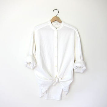 20% OFF SALE vintage white cotton shirt. button down collarless shirt. oversized slouchy shirt. modern minimalist. women's button up blouse.