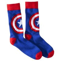 Men's 1pk Socks - Captain America - Red/White/Blue