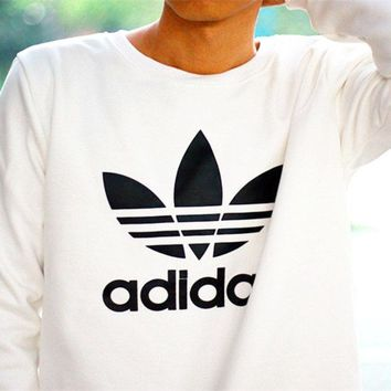 "Women Fashion ""Adidas"" Sweater Shirt Long Sleeve White"