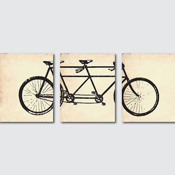 Vintage Art Print - 11 x 14 - Tandem Bike Wall Art Set of 3 Prints - Wall Art Trio - Room Decor on vintage paper, French Script or Grunge
