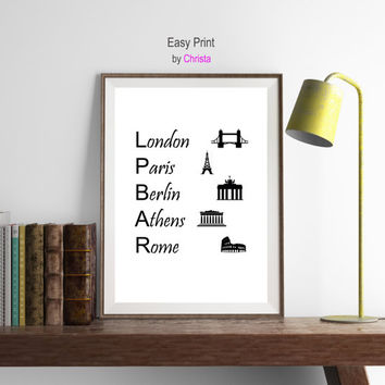 Europe cities print Paris London Berlin Athens Rome printable Modern wall decor Map art print Instant download Europe poster Art Typography