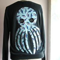 octopus cardigan vintage mens large shark print applique by aorta