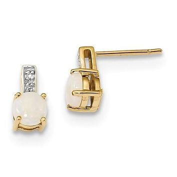 14K Yellow Gold Elegant Opal diamond Post Earrings