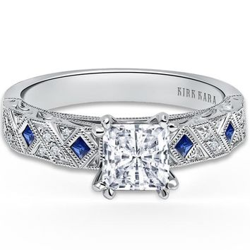 "Kirk Kara ""Charlotte"" Princess Cut Blue Sapphire and Diamond Engagement Ring"